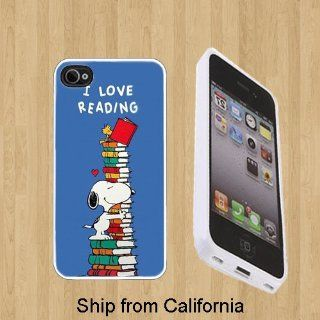 I Love Reading Snoopy Custom Case/Cover FOR Apple iPhone 5** WHITE** Rubber Case ( Ship From CA ) Cell Phones & Accessories
