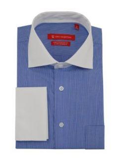 Gino Valentino Mens Stripe Dress Shirt GiftBox Cotton Spread Collar French Cuff at  Men�s Clothing store Darya Trading