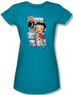 Betty Boop Juniors T shirt Comic Strip Turquoise Tee Shirt: Clothing