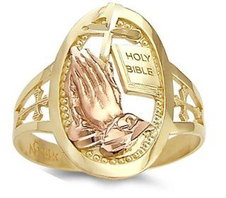 Holy Bible Praying Hands Ring 14k Yellow Gold Religious Band: Right Hand Rings: Jewelry