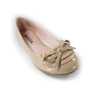 Soda Shoes Bono IIS   Girls' Patent Round toe Bow Flat Natural Shoes