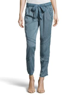 Tapered Lightweight Twill Pants, Chambray Blue