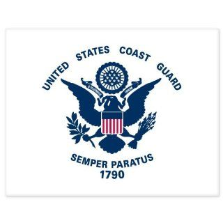 "US Coast Guard White Flag car bumper sticker window decal 5"" x 4"" Automotive"