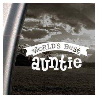 Worlds Best Auntie White Sticker Decal Art Bumper Laptop White Sticker Decal Automotive