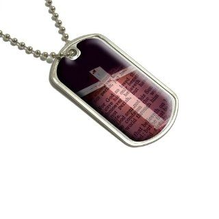 Cross and Bible Verse John 3 16 For God So Loved the World Military Dog Tag Keychain   Automotive Key Chains