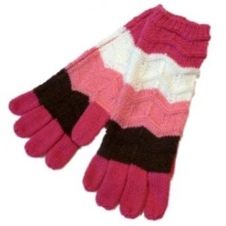 Ben Berger Girls Pink Brown & Ivory Striped Knit Gloves Cold Weather Gloves Clothing