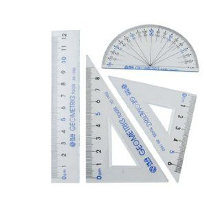 Clear Blue Plastic Protractor Set Square 12cm Straight Ruler : Office And School Rulers : Office Products