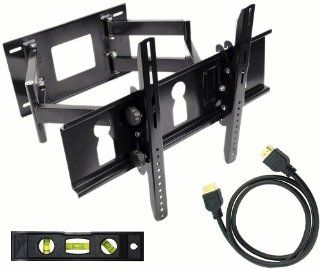 GSI High Grade Sturdy Steel Articulating Full Motion Dual Arm Wall TV Mount with Tilt and Swivel Functions   for Plasma/LCD/LED/TV/DVD/Combo/Blu Ray Flat Panel Monitors/Screens/Displays, Mounting Brackets Fits 32 Inch to 55 Inch Screens   Plus Free Complim