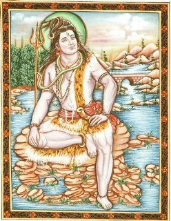 Lord Shiva on Mount Kailash   Water Color Painting On Cotton Fabric   Watercolor Paintings