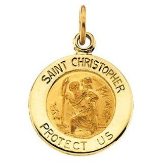 Round Saint Christopher Pendant in Solid Yellow Gold Protect Us Medal 12.00 MM 14 Karat Yellow: Jewelry