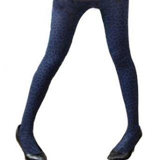 SACAS Sexy Leopard Print Dark Blue Opaque Tights Stockings XS ~ M