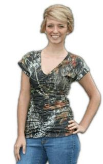 Mossy Oak Top Juniors Camo Ruched V Neck Fashion Shirt XS 3XL (XS, Mossy Oak New Break Up) at  Women�s Clothing store: Fashion T Shirts
