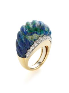 David Webb Ridged Azurite & Diamond Graduated Band Ring by David Webb