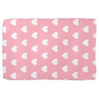 Pretty Pink Polka Heart Wallpaper Design Kitchen Towels