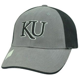 NCAA KU Kansas Jayhawks Curved Bill Adjustable Velcro Grey Black Two Tone Hat  Sports Fan Baseball Caps  Sports & Outdoors