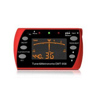 Vktech Multifunctional Chromatic Large Display Digital Musical Instrument Tuner and Metronome Red~for Guitar, Bass , Violin,Ukulete Musical Instruments