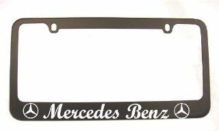 Mercedes Logo Cursive Lettering Black License Plate Frame with 2 free caps: Automotive