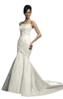 Biggoldapple Mermaid/Trumpet Bateau Court Train Wedding Dress With Applique Ivory at  Women�s Clothing store