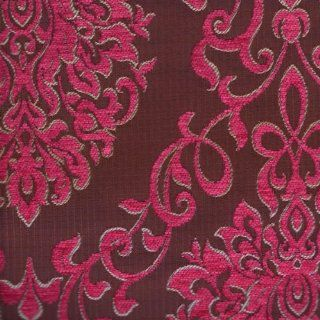 """54"""" Wide Upholstery Fabric Chenille Damask Pattern   Pink (Reversible Fabric)"""