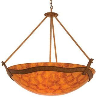 Kalco 5459BG/NS105 Aegean 6 Light Pendant, Bellagio Finish with Buddha Leaf Art Glass Shade   Ceiling Pendant Fixtures