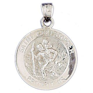 14K White Gold Saint Christopher Coin Pendant: Jewelry