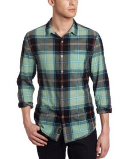 Calvin Klein Jeans Men's Siren Plaid Long Sleeve Woven Shirt, Envy, Medium at  Men�s Clothing store