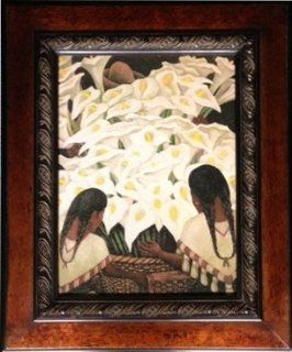 "Fine Art Framed Print ""Calla Lily Vendor"" by Diego Rivera. Lithograph Reproduction (19""x23"") Textured with artist gel to give it an original painting   Oil Paintings"