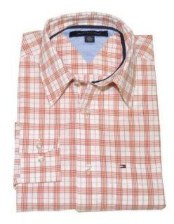 Tommy Hilfiger Men Dress Shirt (XS, White/burnt orange) at  Men�s Clothing store