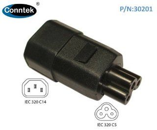 Conntek 30201 Male Plug Adapter IEC C14 To Laptop/Power Adatper IEC C5 Female Connector: Patio, Lawn & Garden