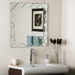 Decor Wonderland SSM530 Luciano   Square Frameless Wall Mirror, Etched Glass