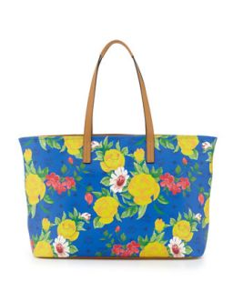 Visetos Flower Tote Bag, Blue   MCM