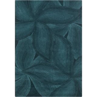 Mandara Contemporary Hand tufted Floral Blue Wool Rug (79 X 106)