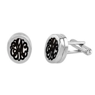 Alison & Ivy Script Monogram Locket Cuff Links in Sterling Silver (3