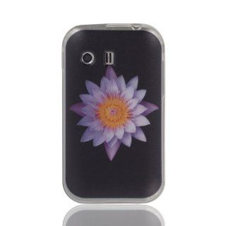 Best Purple Lotus Flower on Black soft TPU case cover for Samsung Galaxy Y S5360: Cell Phones & Accessories