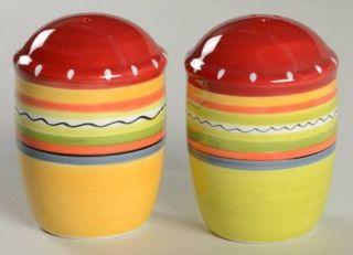 Hot Tamale Salt & Pepper Set, Fine China Dinnerware   Red,Orange,Green,Yellow,St
