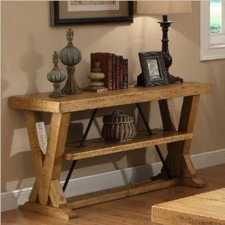 Riverside Furniture Summerhill Console Table in Canby Rustic Pine   Home Entertainment Centers