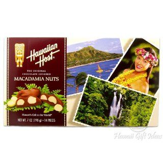 Hawaiian Host Scenic Chocolate Macadamias   2 boxesx 14 oz each box Total of 28 oz : Gourmet Chocolate Gifts : Grocery & Gourmet Food