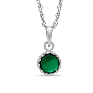 0mm Lab Created Emerald Crown Pendant in Sterling Silver   Zales