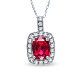 Cushion Cut Lab Created Ruby and White Sapphire Frame Pendant in 14K