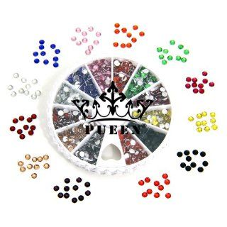 PUEEN 3d Nail Art Wheel of Round Brilliant 14 Cut 3mm   10ss Resin Rhinestones Studs in 12 Different Colors for Cellphones & Nails Decorations  Beauty
