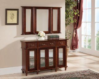 Kings Brand Walnut Finish Wood Console Sideboard Table and Wall Mirror Set   Sofa Tables