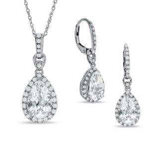Pear Shaped White Topaz Frame Pendant and Earrings Set with Lab