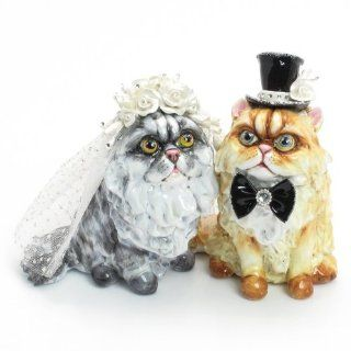 Cat Lover Wedding Cake Topper P00001 Clay Sculpted Hand Painted Wedding Decor Figurine Statue Table Reception Decoration  Wedding Ceremony Accessories