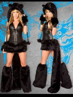 Sexy Faux Fur Black Cat Costume   SMALL: Clothing