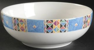 Oneida Origami 9 Round Vegetable Bowl, Fine China Dinnerware   Multicolor Geome