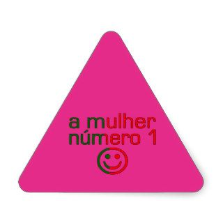 A Mulher Número 1   Number 1 Wife in Portuguese Triangle Sticker
