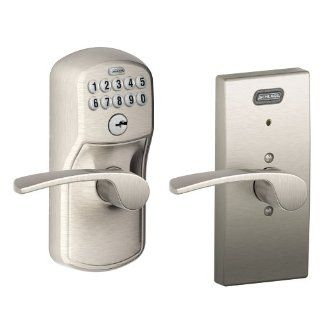 Schlage FE576 PLY 619 MER CEN Built in Alarm, Century Collection Keypad Merano Lever Door Lock, Satin Nickel   Doorknobs