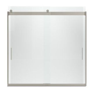 KOHLER K 706002 L MX Levity Bypass Bath Door with Handle and 1/4 Inch Crystal Clear Glass in Matte Nickel   Shower Doors