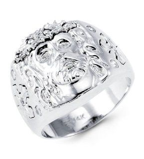Mens Solid 14k White Gold Round CZ Jesus Religious Ring Jewelry