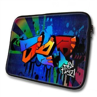 """Graffiti Names"" designed for Dep, Designer 14''   39x31cm, Black Waterproof Neoprene Zipped Laptop Sleeve / Case / Pouch.: Cell Phones & Accessories"